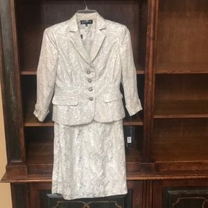 Ivory/silver dress with matching jacket